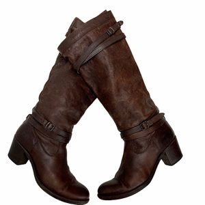 FRYE Brown Leather Jane Strappy Healed Boots Sz9.5